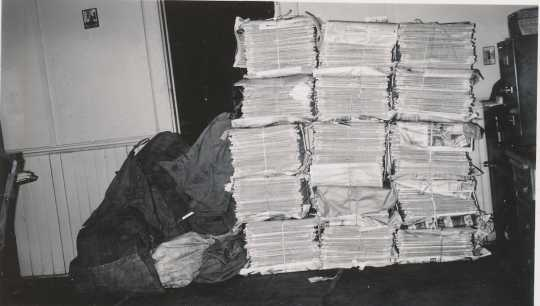 Black and white photograph of bundles of the Waconia Patriot ready to be shipped. Date and photographer unknown.