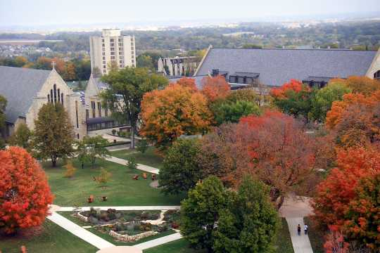 aerial photograph of St. Olaf College campus