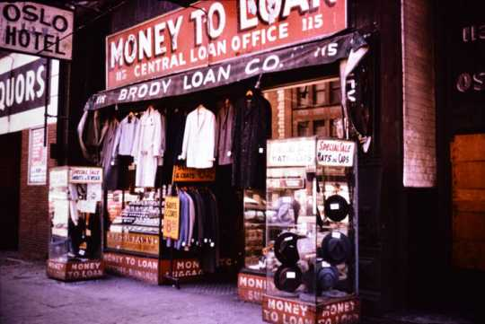 Brody Loan Company storefront, 1950s