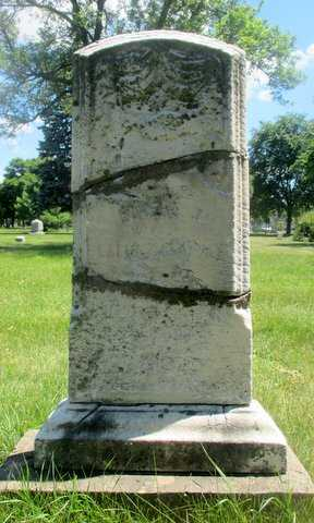 Color image of a repaired headstone at Pioneers and Soldiers Memorial Cemetery in Minneapolis, 2016. Photographed by Paul Nelson.