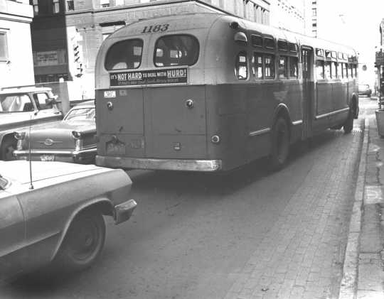 Aging bus operated by Twin City Lines, ca. 1960s. Photo by the St. Paul Pioneer Press; used with permission.