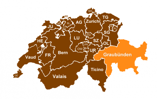Map of Swiss cantons with Graubunden highlighted