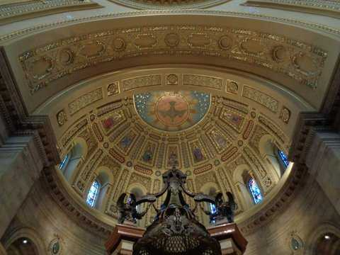 Color image of the decorative altar ceiling inside the St. Paul Cathedral. Photographed by Paul Nelson on July 10, 2014.