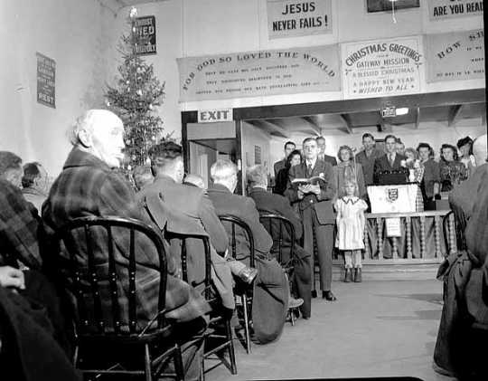 Christmas Service at Gateway Gospel Mission, 1940.