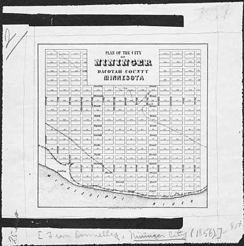 Plan of the city of Nininger c.1856
