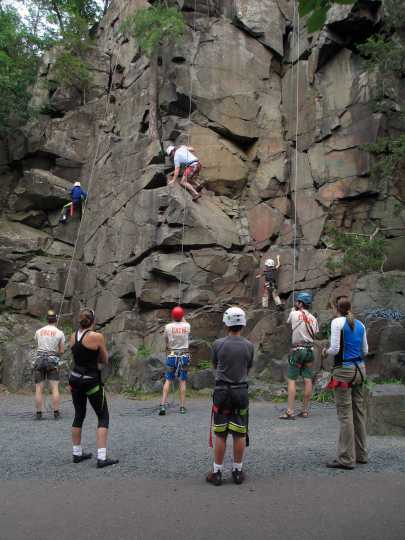 Color image of rock climbers at Interstate State Park, 2014.. Photograph by Minnesota Department of Natural Resources Staff.