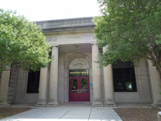 Color image of the front entrance of Como Park Elementary School, designed by Clarence Wigington and built in 1916. Photographed by Paul Nelson on August 5, 2014.