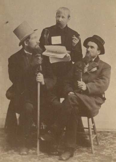 Black and white photograph of Solomon Comstock, James H. Sharp, and S. G. Roberts, 1880.