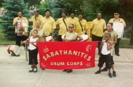 Color image of the Sabathanites Drum Corps, Minneapolis, ca. early 2000s. Photographed by Suluki Fardan.