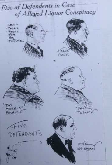Sketch of defendants in Winnipeg Liquor Conspiracy from the Minneapolis Tribune, 1920