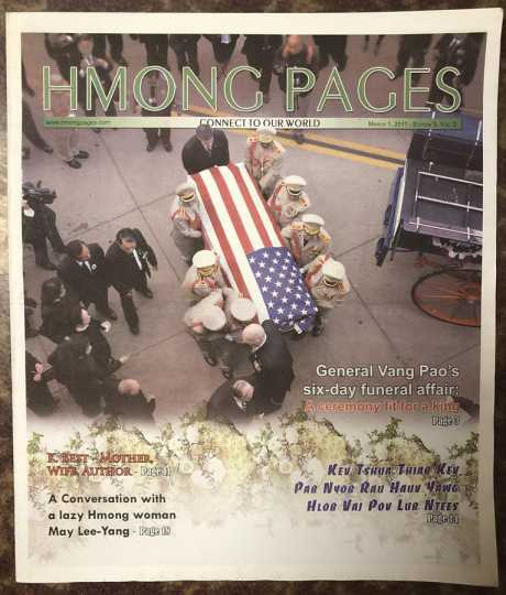 Hmong Pages cover featuring an article on the funeral of General Vang Pao