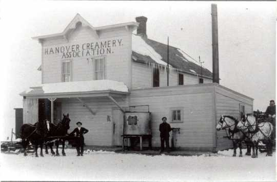 Black and white photograph of Hanover Creamery Association building, ca. 1880–1900. Used courtesy of the Hanover Historical Society.