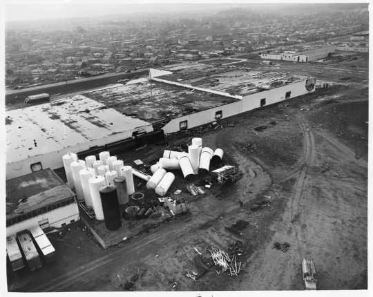 Aerial view of the Midland Co-operative after the Fridley tornado