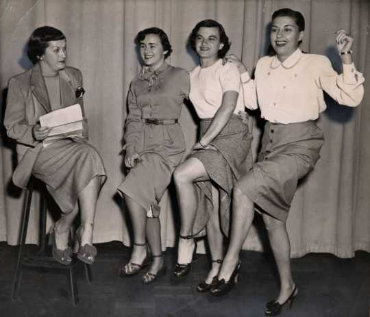 Black and white photograph of participants in a Dancing Follies event held at St. Paul's Jewish Community Center on October 24, 1949.