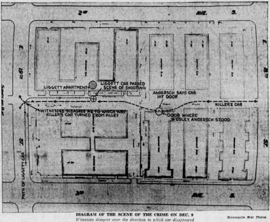 Diagram of Liggett murder scene