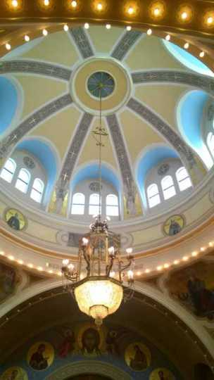 Color image of the dome and chandelier inside St. Mary's Orthodox Cathedral in Minneapolis. Photographed by Paul Nelson on June 10, 2014.