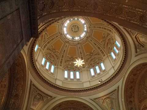 Color image of an interior view of the dome of the St. Paul Cathedral. Photographed by Paul Nelson on July 10, 2014.