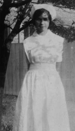 Black and white photograph of Dorothy Molter in a nurse's uniform, ca. late 1920s.