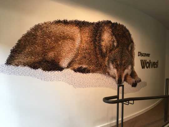 Mosaic at entrance to wolf exhibit