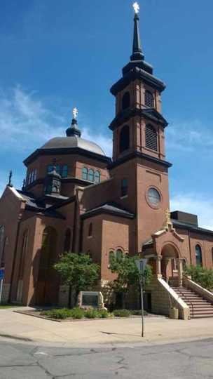 Color image of the exterior of St. Mary's Orthodox Cathedral in Minneapolis. Photographed by Paul Nelson on June 10, 2014.