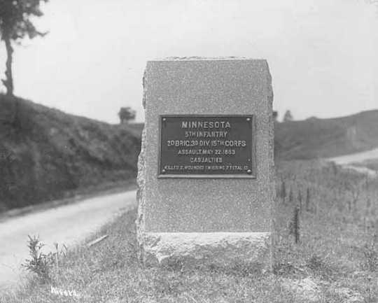 Photograph of stone monument at Vicksburg National Military Park honoring the Fifth Minnesota