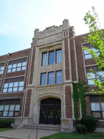 Color image of the front entrance of Marshall Junior High School (now Webster Elementary School) in St. Paul designed by Clarence Wigington and built in 1924 and 1925. Photographed by Paul Nelson on August 15, 2014.
