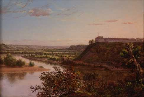 Oil on canvas painting of Fort Snelling created c.1855.