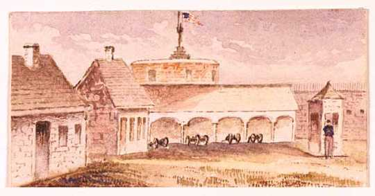 Watercolor painting of an interior view of Fort Snelling made c.1853.
