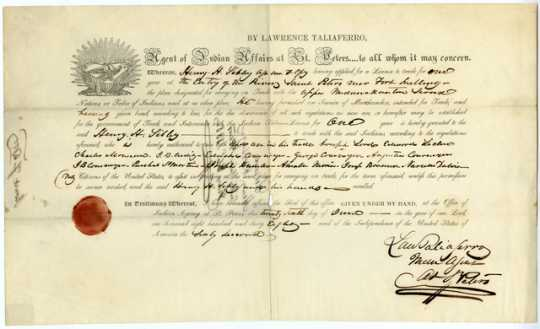 Color image of a fur trading license issued to Henry H. Sibley, 1838.