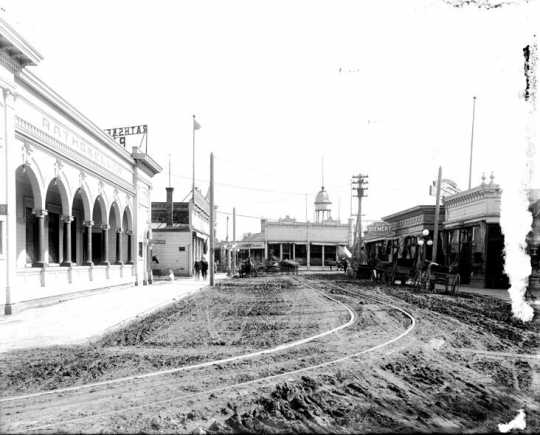 Photograph of North Bridge saloons on First Street in Moorhead, ca. 1890s.
