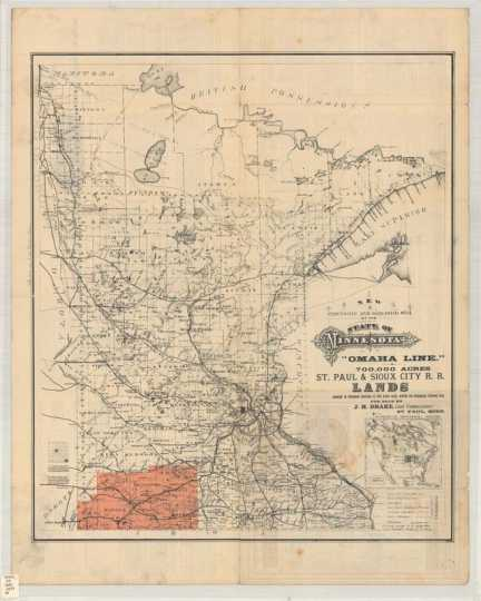 New township and railroad map of the state of Minnesota