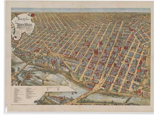 Bird's eye view of Minneapolis, Minn., 1891