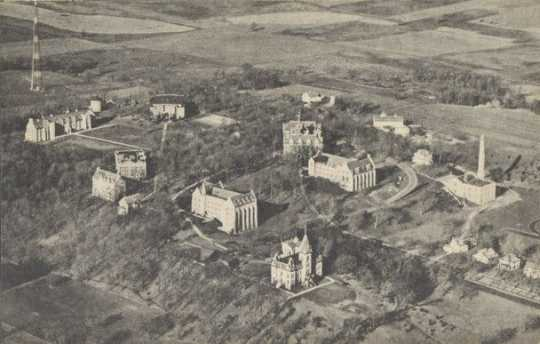Aerial view of St. Olaf College campus