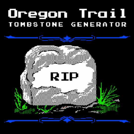 Screenshot of a gravestone in the original Oregon Trail computer game, which players could fill out with their own text, ca. 1980s.