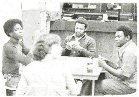 Black and white photograph of students at Gustavus Adolphus College c.1972.