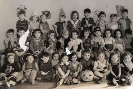 Black and white photograph of a Halloween party for the pre-kindergarten class at the Jewish Educational Center in St. Paul, 1937.