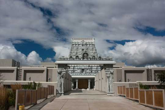 Color image of the Hindu Temple of Minnesota in Maple Grove. Photographed by Flickr user Paul Weimer on September 4, 2011.