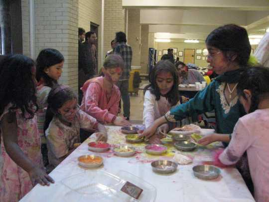 SILC students celebrating Holi