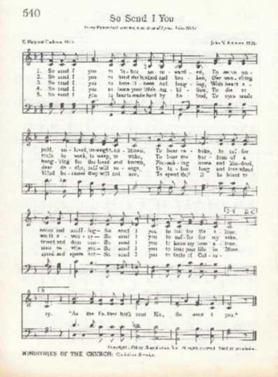 Sheet music of a hymn often used for mission programs organized by the Carson Mennonite Brethren Church.