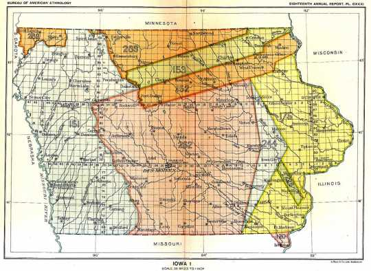 Map of Native American land cessions in the present-day state of Iowa