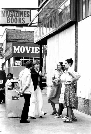 Black and white photograph of anti-pornography activists on Lake Street, 1979.