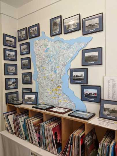 Minnesota ballrooms display with map and historic photos