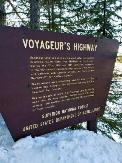 Sign marking the Voyageur's Highway at Lake Saganaga