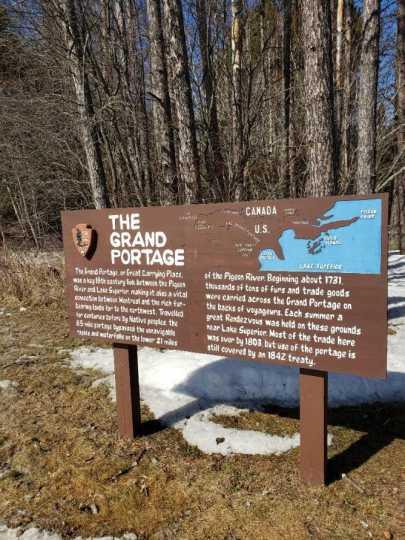 Sign at Grand Portage trailhead
