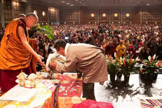 The Dalai Lama at the Tibetan American Foundation of Minnesota in St. Paul, 2017. Photograph by Tashi Khongtsotsang.