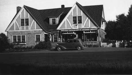 Black and white photograph of Stickney Inn and Store, facing south, ca. 1930.