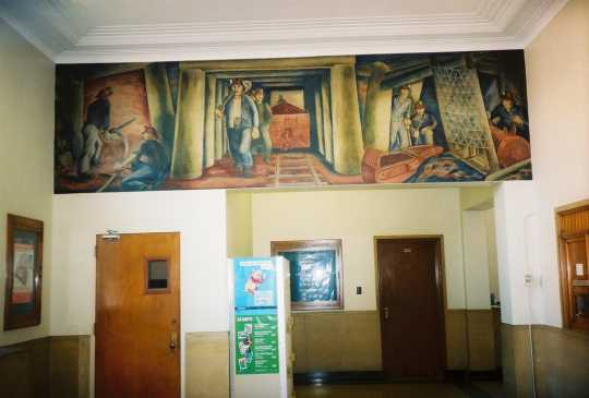 Color image of Iron Ore Mine, Elsa Jemne's mural for the Ely Post office, 1940.