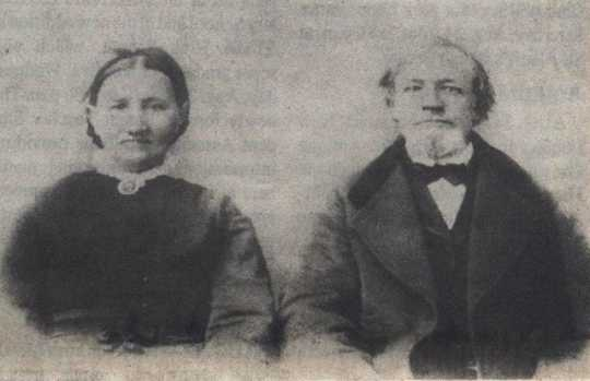 Black and white photograph of Johanna and William Vollbrecht, early founders of Hanover, ca. 1855.
