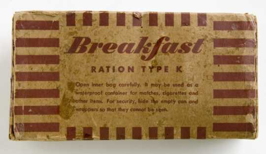 Photograph of the front of a World War II K-ration issued to a Minnesota soldier