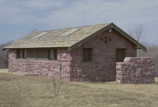 Color image of a Blue Mounds State Park latrine built by the Works Progress Administration, ca. 1990s.